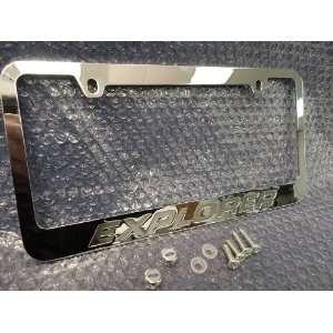 Ford Explorer Chrome Metal License Plate Frame with Logo