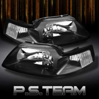 99 04 FORD MUSTANG BLACK CLEAR CRYSTAL HEADLIGHTS LIGHTS LAMPS LEFT