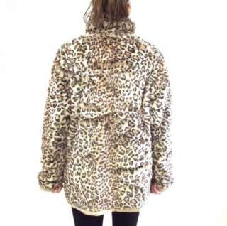 Reversible Faux Fur Leopard Print & Light Brown Leather Coat Jacket sz