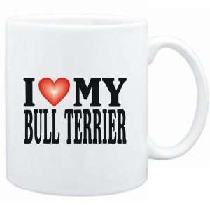 Mug White  I LOVE Bull Terrier  Dogs