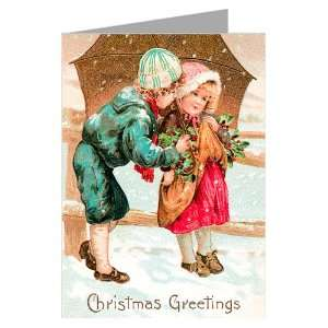 Victorian Young Couple on Christmas Holiday, Vintage Note Cards Boxed