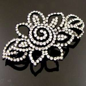 Black Metal Crystal Rhinestone Hair Barrette Clip 01