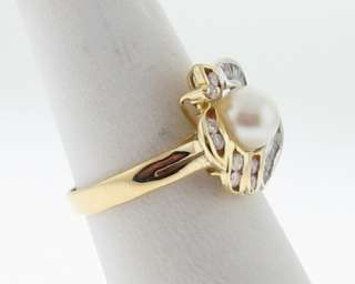 Estate Cultured Pearls Genuine Diamonds Solid 14k Two Tone Gold Ring