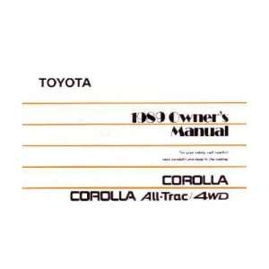 1989 TOYOTA COROLLA Owners Manual User Guide Everything