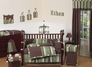 MODERN DISCOUNT GREEN BROWN BABY BOY CRIB BEDDING SET