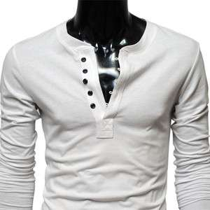 ) TheLees Mens casual Slim fit Button point Long Sleeve Tshirts WHITE