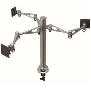 Triple Monitor Desk Mount Dual Arm Base Type Grommet