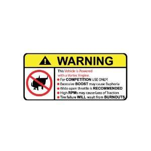 Vehicle Vortec Engine No Bull, Warning decal, sticker