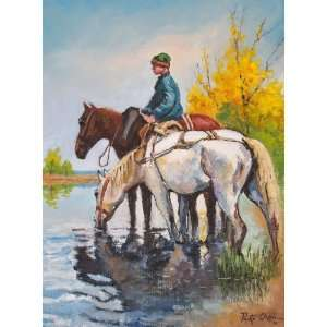 Boy and Horses ~ Wooden Jigsaw Puzzle Toys & Games