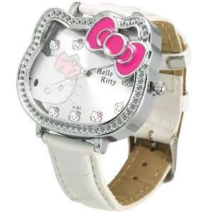 Ladies Hello Kitty metal cased watch with syn leather