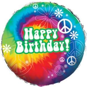 Tie Dye Fun Peace Sign Happy Birthday Metallic Balloon