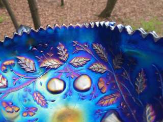 Antique Carnival Glass NORTHWOOD FRUITS FLOWERS BON BON ELECTRIC BLUE