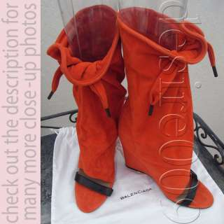 BALENCIAGA A/W Designer Orange Suede Leather Open Toe Mid Calf Boots