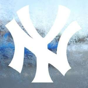 NEW YORK YANKEES White Decal NY Car Window Laptop White