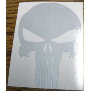 PUNISHER SKULL   3 WHITE REFLECTIVE   HELMET DECAL  Vinyl Decal