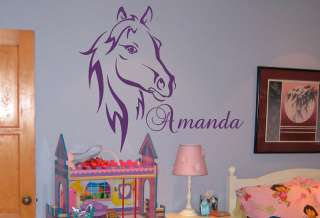 Custom Name Text Horse Head Vinyl Wall Art Sticker Decal