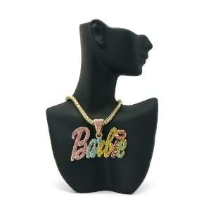 MP680 NICKI MINAJ BARBIE Pendant Gold Franco Chain Double