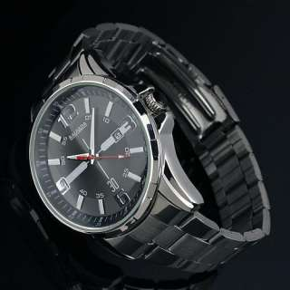 Display Analog Classic Stainless Steel Black Style Quartz Mens Watch