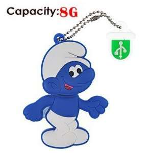 8G Rubber USB Flash Drive with Shape of Blue Smurfs Electronics