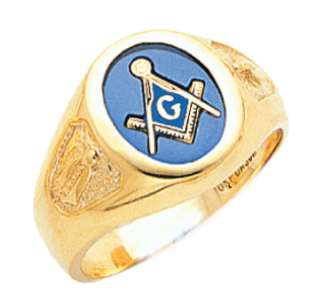 Mens Open Back 10K Gold Blue Lodge Masonic Freemason Mason Ring