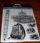 RECOLLECTION CLEAR ACRYLIC STAMPS SCHOOL DAYS ~ BACKPACK, BOOKS