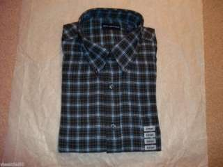 JOHN ASHFORD Mens NEW Blue Plaid Flannel Shirt   $40