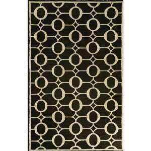 Hand Tufted Area Rug Arabesque 5 x 8 Black Carpet Furniture & Decor