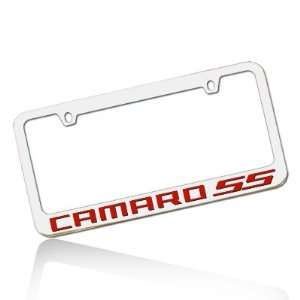 Camaro SS Red Word Chrome Metal License Frame Automotive