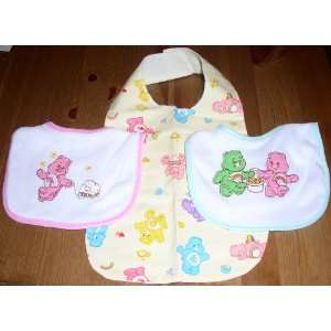 Set of 3 Care Bears Bibs   Pink, Green, Yellow Everything