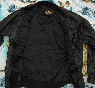Harley Davidson BLACK LEATHER JACKET Mens M MED Satin Lined
