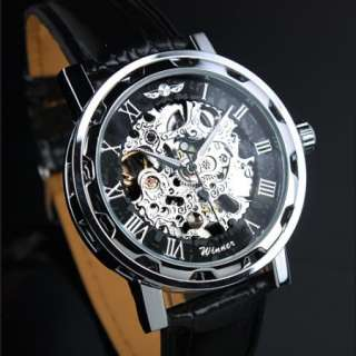 Automatic Mechanical Skeleton Black Leather Men Boy Watch Analog