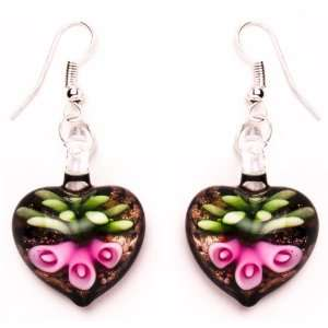 Bleek2sheek Murano inspired Glass Pink Lily Heart Earrings