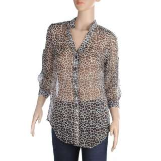 CHIC WOMENS LEOPARD PRINT SHIRT BUTTON DOWN TOPS CHIFFON BLOUSE 2