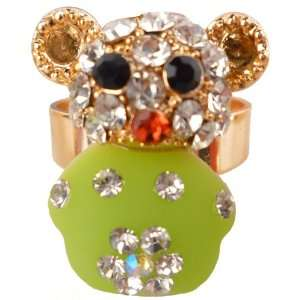 Cute Light Green Teddy Bear Crystal Gem Jeweled Adjustable