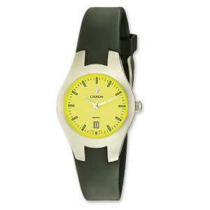 Croton Mens Quartz Black Silicone Band Yellow Dial Sport