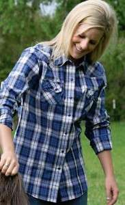 Cruel Girl Ladies Blue Plaid Snap Front Western Shirts