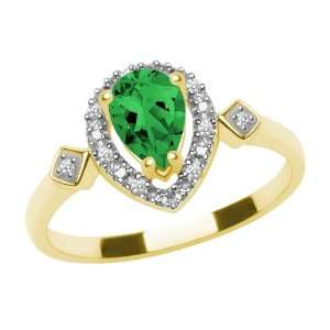 , Lab Created Emerald and Diamond Pear Shaped Ring, Size 6 Jewelry