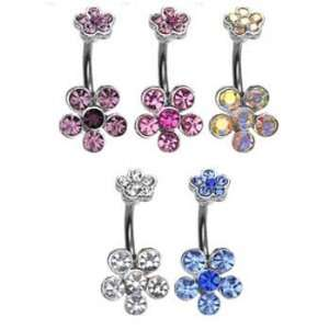 Double jeweled flower belly ring, blue Jewelry