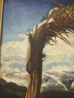 Foster California Cactus Mountain Western Oil Painting