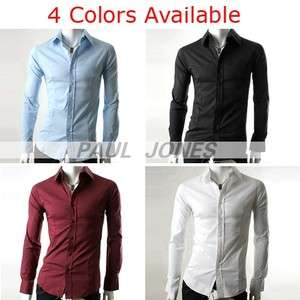 "Polyester Luxury Mens Casual Formal Long Sleeve Dress Shirts ""4"