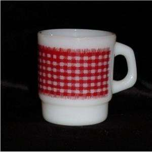 Anchor Hocking Fire King Milk Glass Red Gingham Stacking