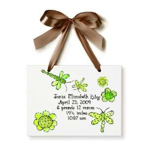 Birth Certificate Hand Painted Tile   Green Dragonfly