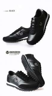New MENS Paperplanes Leather Sneakers Running Black shoes