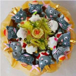 Love Flower Bouquet of Dolls, 11 Wolves and 5 Sheep Toys & Games