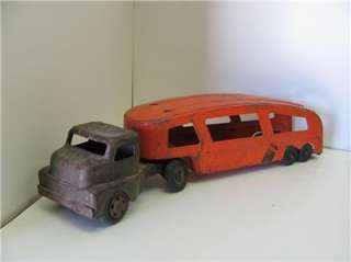 Old Vtg 1950s STRUCTO FORD Farm Truck Auto Haulaway Trailer Pressed
