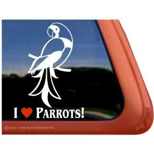 I Love Parrots ~ Parrot Bird Vinyl Window Decal