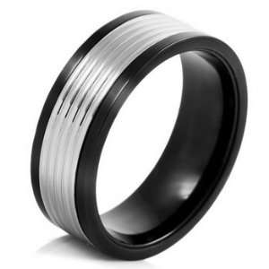 MENS Silver Black Stainless Steel Striped Rings Wedding