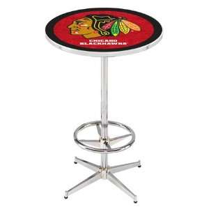 36 Chicago Blackhawks Red Counter Height Pub Table   Chrome Base with