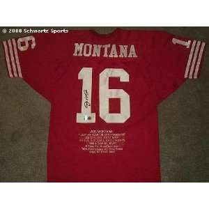 Joe Montana Signed Red Custom Throwback Embroidered Stat