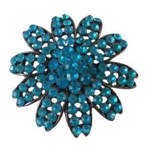 Large Light Blue Gem Flower Pin With Netted Setting (2 Inch) Jewelry